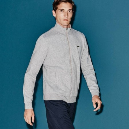 Men´s Lacoste SPORT zip-up fleece sweatshirt SILVER CHINE