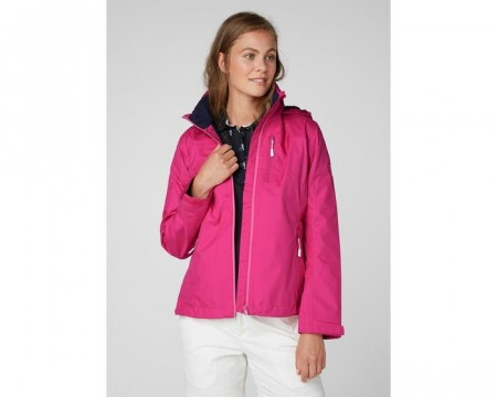 HELLY HANSEN W CREW HOODED MIDLAYER JACKET DRAGON FRUIT