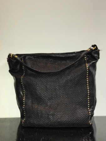 Campomaggi - Large hobo bag in black woven vintage leather with studs