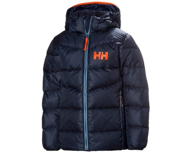 HELLY HANSEN JR ISFJORD DOWN MIX JACKET NAVY FRONT