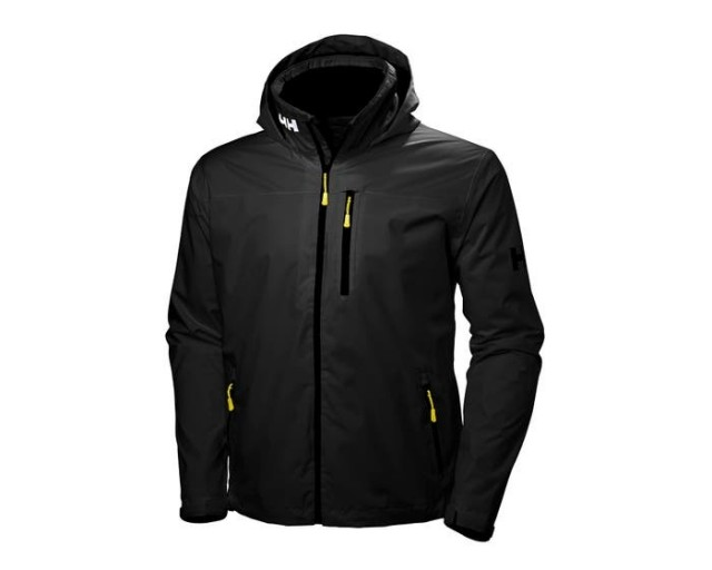 HELLY HANSEN CREW HOODED MIDLAYER JACKET BLACK FRONT