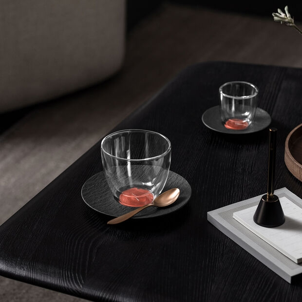 VILLEROY & BOCH - MANUFACTURE ROCK GLOW - COPPER - BLACK - COFFEE CUP SAUCER - IMAGE