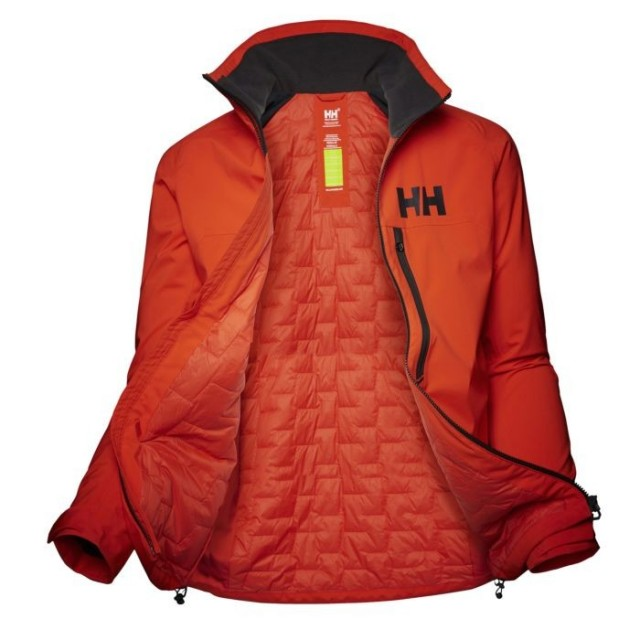 HELLY HANSEN W HP RACING MIDLAYER JACKET CHERRY TOMATO OPEN