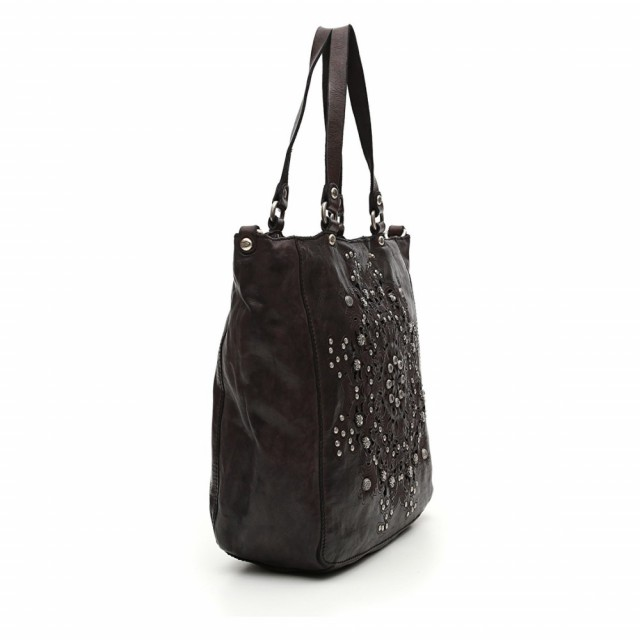 "Campomaggi Shopping in Black leather with ""Serenoa"" decoration Side"